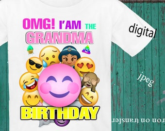 INSTANT DOWNLOAD, Emoji, Iron On Transfer, Emoji Birthday Shirt, Emoji Transfer, Emoji Party, Digital Design, JPEG, Grandma