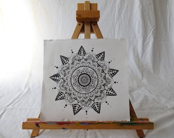 """Original hand drawn mandala black and white on 11"""" by 11 1/2"""" watercolor paper"""