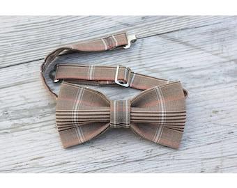 Brown tartan cotton bow tie