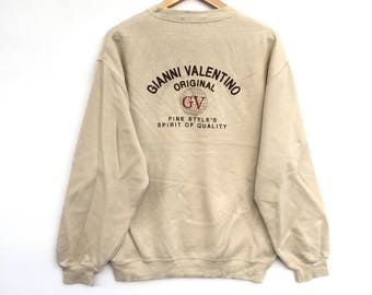 Gianni Valentino Sweatshirt Cream colour Big Logo Embroidery Sweat Medium Size Jumper Pullover Jacket Sweater Shirt Vintage 90's