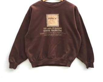 Gianni Valentino Sweatshirt Brown colour Big Logo Embroidery Sweat Medium Size Jumper Pullover Jacket Sweater Shirt Vintage 90's