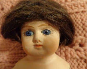 ANTIQUE PAPIER MACHE cabinet sized doll