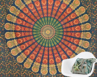 Boho Queen Size Mandala Tapestry - Orange Peacock