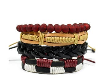 4 Pack Burgundy Bracelet Set