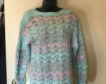 Hand-knitted sweater in sky blue