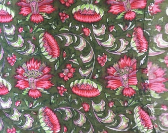 Beautiful Hand block printed Fabric. Cotton floral using vegetable dyes.By the metre.Sustainable,ethical.