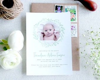 Botanical Personalised Baby Thank You Announcement - A6 Linen Postcard
