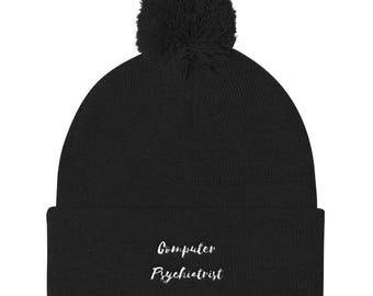 Computer Psychiatrist Pom Pom Knit Cap