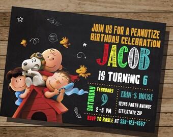 Peanuts Invitation,Snoopy Invitation, Peanuts Birthday, Snoopy Invite, Peanuts Snoopy Birthday Party Invite, Peanuts Party, Snoopy, Peanuts