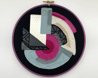 Geometric/Metal Accent Hand-Embroidered and Painted Hoop