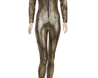 Gold and Black Snake Skin Print Catsuit Jumpsuit
