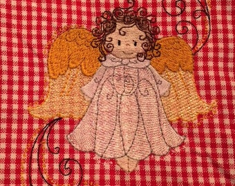 Red Checked Christmas Kitchen Towel with Angel