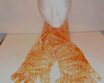 Orange Tie-dyed Warm and Cozy Chenille Scarf