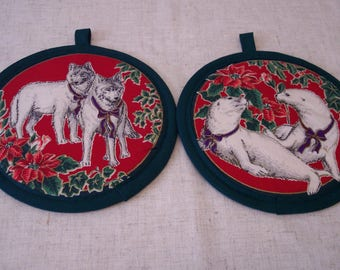 CHRISTMAS POT HOLDERS set of two