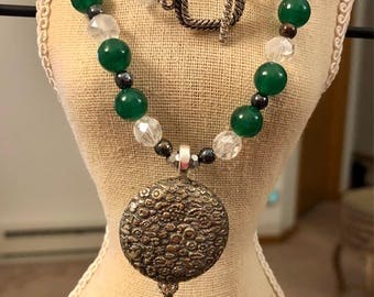 Antique Button Necklace/Earring Set