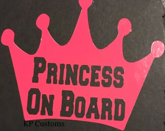 Princess On Board Car Decal