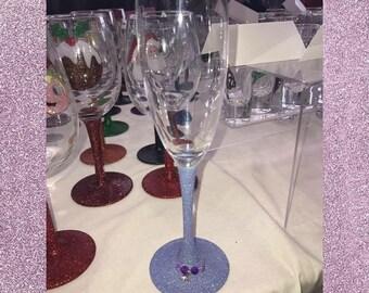 Lilac glitter champagne flute