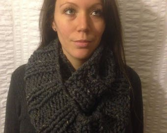Grey Knit Infinity Scarf, Chunky Ribbed Cowl