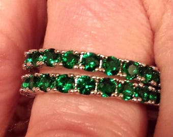 Set of 2 Emerald Quartz Gemstone Eternity Bands / Rings Sterling Silver Plated 8