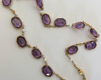 Amethyst And Pearl Fringe Mecklace In High Carat Gold With Box Clasp. Approx. 18 grams