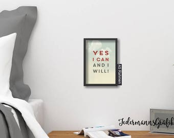"Picture for hanging-Design 2-din A5-""Yes I can and I will""-Picture download"