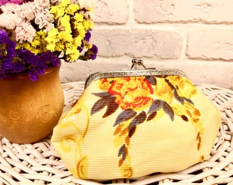 Vintage floral cosmetic bag made in USSR Soviet vintage purse Yellow cosmetic bag