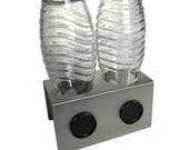 2er Abtropfhalter aus Edelstahl für z.B. Sodastream Crystal Flaschen