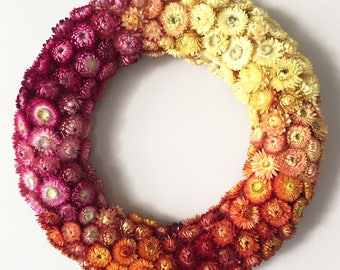 Strawflowers Wreath | Fall Wreath | Indoor Wreath | Floral Wreath | Natural Decor | Fall Decor | Unique Gift