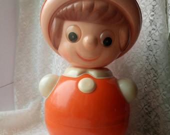 Soviet Roly Poly Doll, Nevalyashka, Vintage Roly-Poly Toy, Ding Doll, Soviet Union ,USSR, soviet toy, plastic doll, boy in the hat, USSR 70s