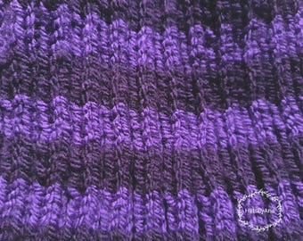 Double Purple Hand Knitted Hat for Kids & Teens