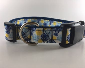 Blue and Yellow Daffodil Dog Collar