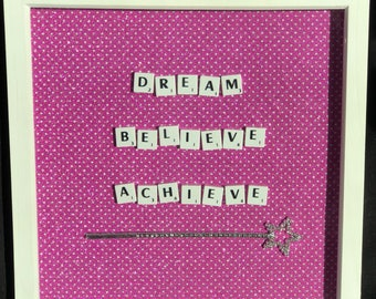 Sparkly 'DREAM BELIEVE ACHIEVE' pink glitter Scrabble tile box frame with wand