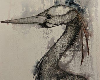 Print of Heron Water colour.