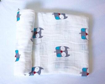 MUSLIN Swaddle Blanket OWL