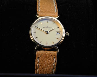 Geneve Universal Watch-Original leather-10g yellow gold-label-Geneve Universal Watch-Original strap-yellow gold 10g-tag-