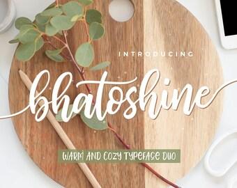 Calligraphy Font,  Swirly Font, Wedding Watercolor, Christmas font, Handwritten Script  Instant Download - Bhatoshine-Script-Font