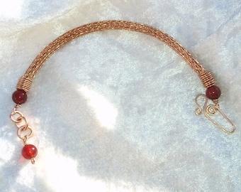Carnelian and Viking Knit Bracelet, Solid Bronze, Handmade Jewelery, Wirework. Nordic Jewelery, semi precious stones, woven wire bracelet