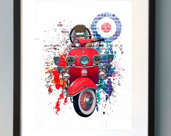 Vespa Scooter Digital Art Work Print
