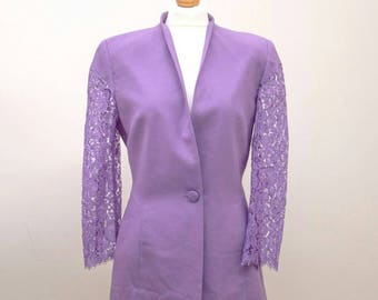 Vintage Lilac woman Jacket // pure Wool // UK 10/12 IT 40/42 // 80s //