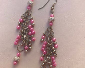 Pink,Silver, Small Beads/Silver Chain/Wire Earrings