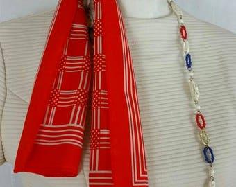 "Robinson Golluber Long Scarf Vintage Red Striped Geometric Pattern 44"" long"