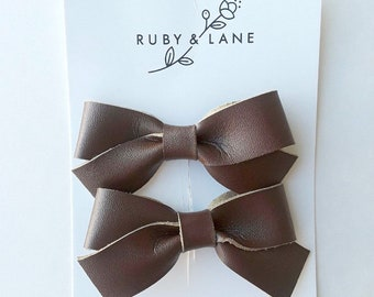 Brown Faux Leather Pigtail Set