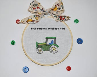 Embroidery Hoop Art - Birthday gift - Baby Boy Present - Tractor embroidery -Handmade - Tractor gift - Personalised Tractor - John Deere