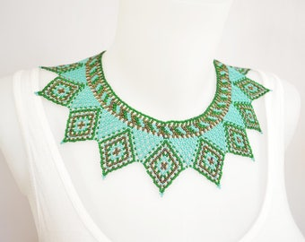 LUUV - Necklace ARLEQUI - Turquoise / green / brown - style Bohemian exotic