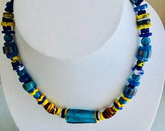 Rare flat blue glass necklace