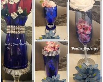 COBALT BLUE, Glass Bridal House, Mini Cobalt Blue Vases, Cobalt Blue Cups, Blue Glassware, Glassware, rhinestone vases