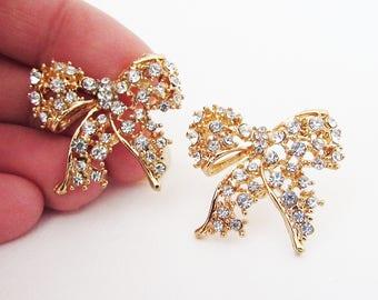 Gold Bow Earrings, Big Bow Earrings, Gold Rhinestone Bow Stud Earrings for Pierced Ears, Large Bow Stud Earrings, Gold Bow Crystal Earrings