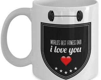 World's Best FITNESS DAD! White Coffee Mug, Fitness Dad's Gift, Fitness Dad's keepsake,Fitness Dad's present.