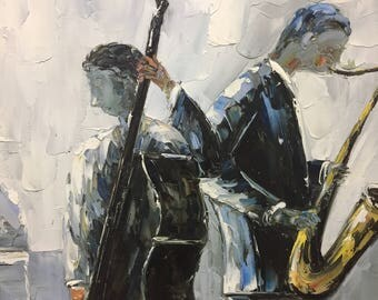 Jazz Duo Oil Painting READY TO HANG! Canvas Art, Wall Art