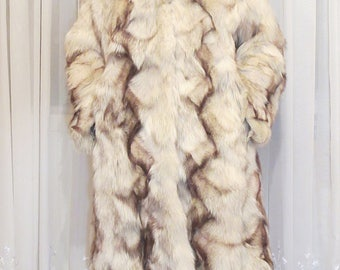 Fur coat of arctic fox with hood. color beige-brown. size 2Xl, real fur.